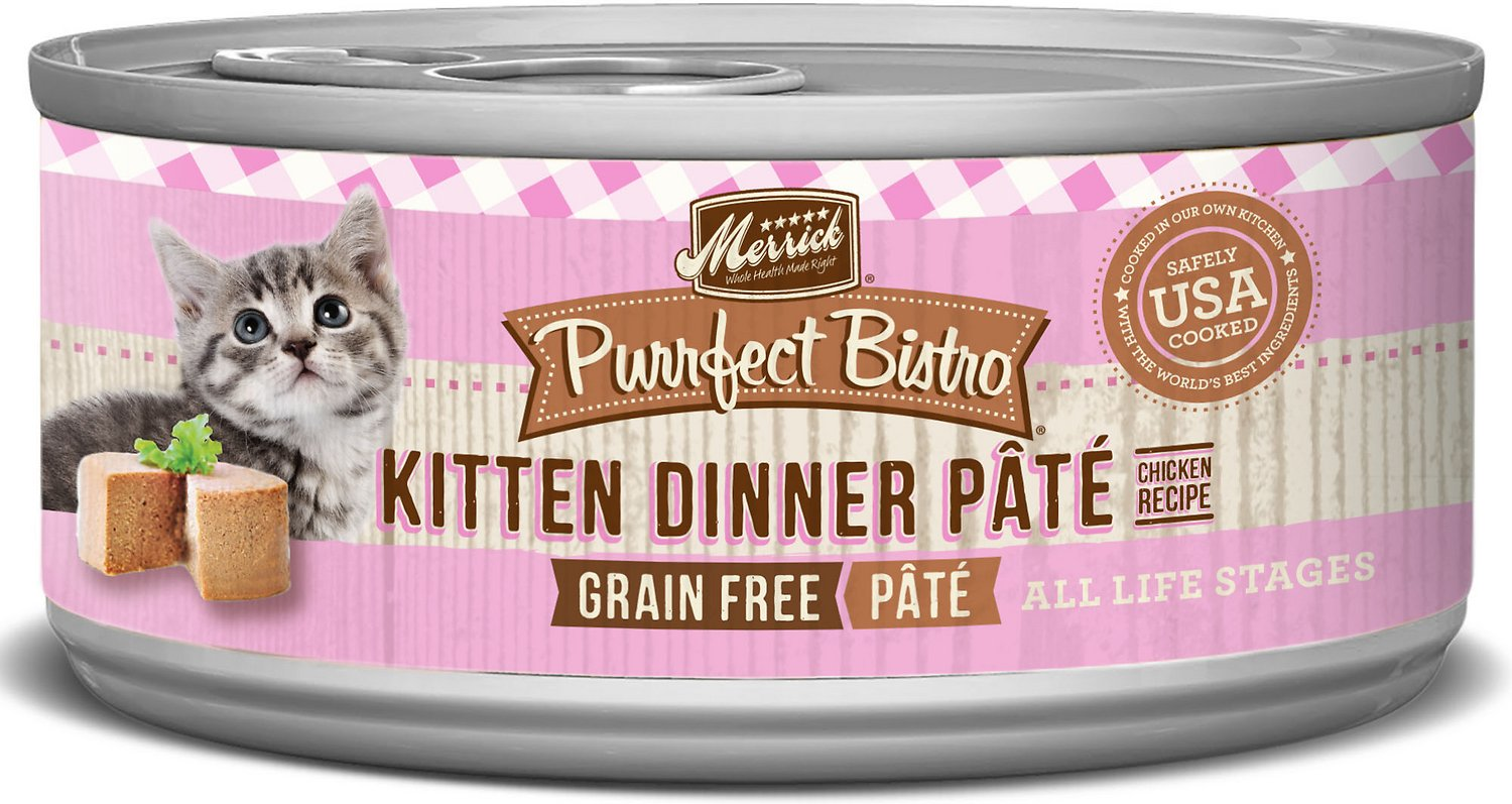 Merrick Purrfect Bistro Grain-Free Kitten Dinner Pate Canned Cat Food, 5.5-oz