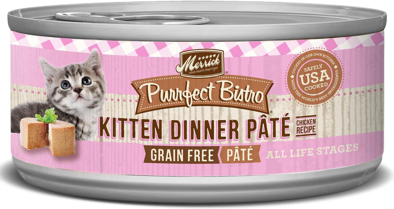 Merrick Purrfect Bistro Grain-Free Kitten Dinner Pate Canned Cat Food, 3-oz
