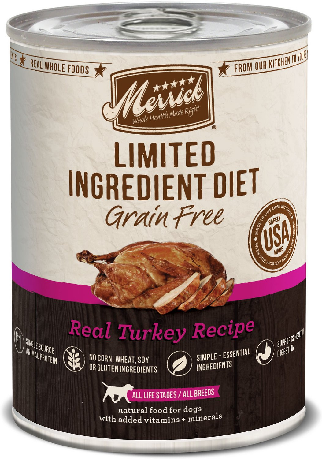 Merrick Limited Ingredient Diet Grain-Free Real Turkey Recipe Canned Dog Food Image