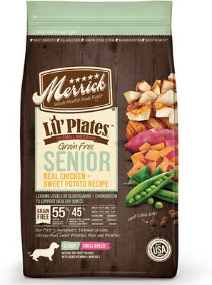 Merrick Lil' Plates Grain-Free Real Chicken & Sweet Potato Senior Small Breed Dry Dog Food, 4-lb bag