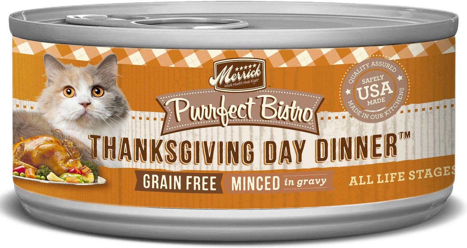 Merrick Purrfect Bistro Grain-Free Thanksgiving Day Dinner Minced in Gravy Canned Cat Food, 5.5-oz