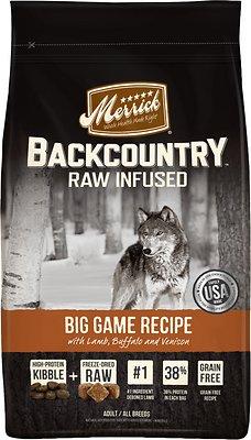 Merrick Backcountry Raw Infused Big Game Recipe with Lamb, Buffalo & Venison Grain-Free Dry Dog Food, 12-lb bag
