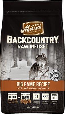 Merrick Backcountry Raw Infused Big Game Recipe with Lamb, Buffalo & Venison Grain-Free Dry Dog Food, 22-lb bag