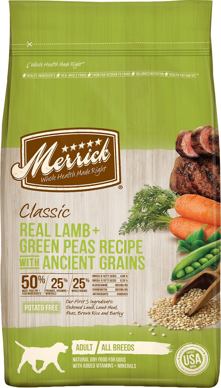 Merrick Classic Real Lamb + Green Peas Recipe with Ancient Grains Adult Dry Dog Food Image
