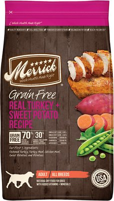 Merrick Grain-Free Real Turkey + Sweet Potato Recipe Dry Dog Food, 25-lb bag (original)