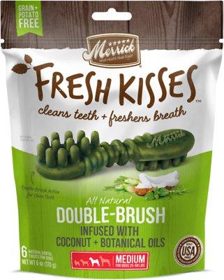 Merrick Fresh Kisses Double-Brush Coconut Oil & Botanicals Medium Grain-Free Dental Dog Treats, 6 count