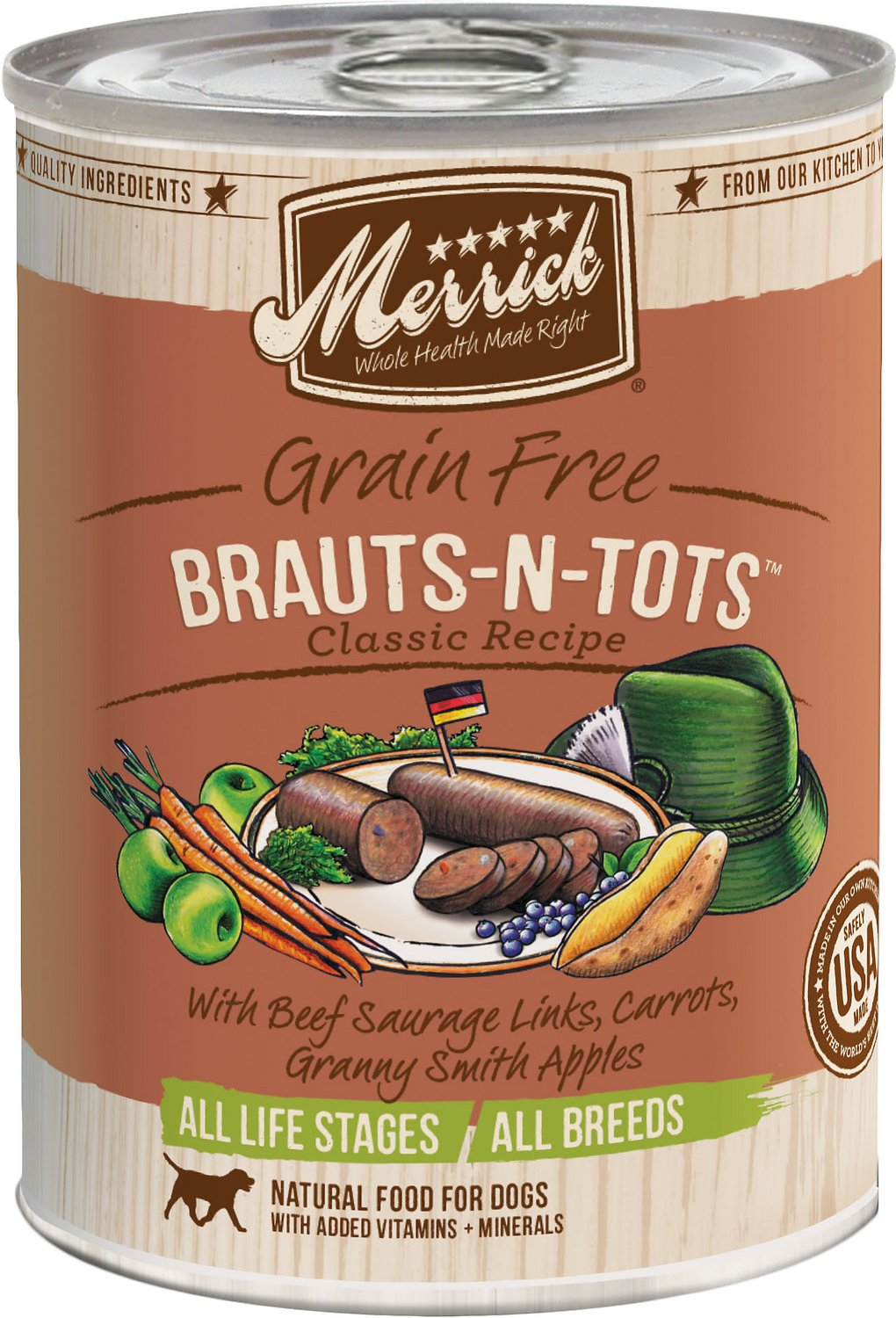 Merrick Grain-Free Brauts-n-Tots Canned Dog Food, 12.7-oz