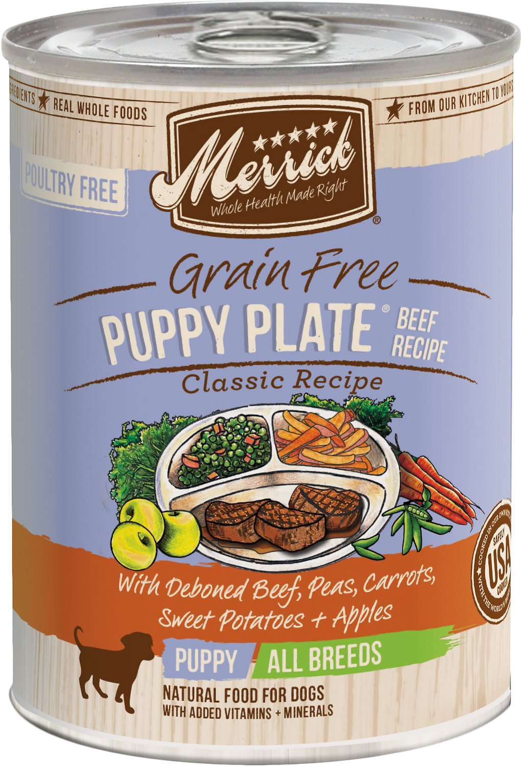 Merrick Grain-Free Puppy Plate Beef Recipe Canned Dog Food Image
