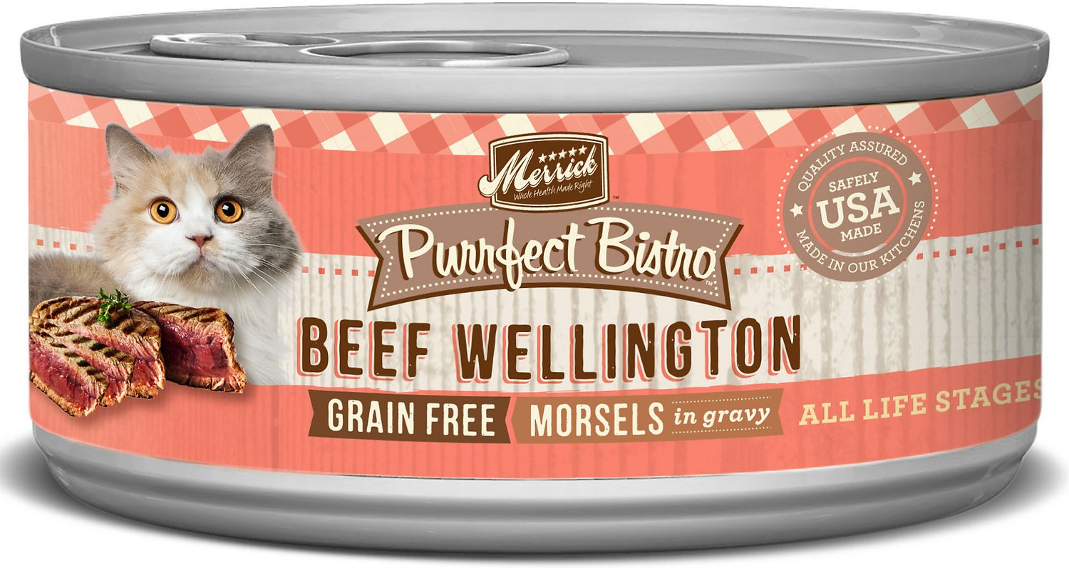 Merrick Purrfect Bistro Grain-Free Beef Wellington Morsels in Gravy Canned Cat Food, 5.5-oz