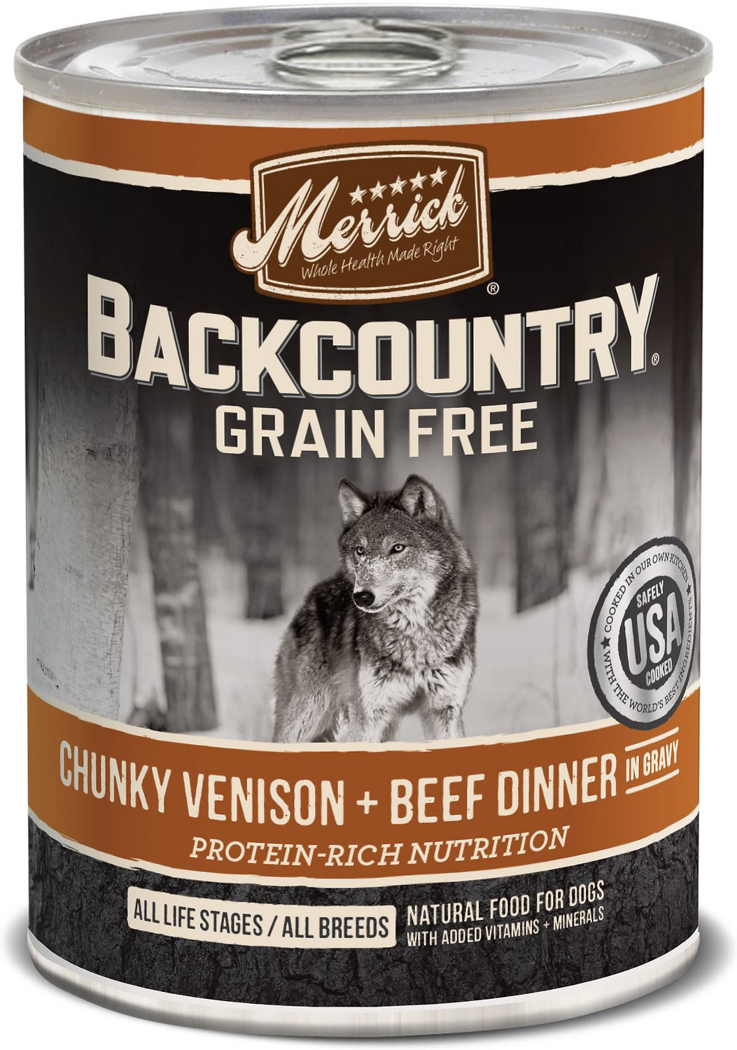 Merrick Backcountry Grain-Free Chunky Venison & Beef Dinner in Gravy Canned Dog Food Image