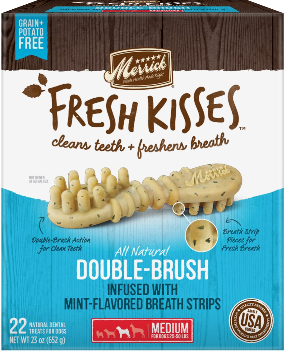 Merrick Fresh Kisses Double-Brush Mint Breath Strips Medium Grain-Free Dental Dog Treats Image