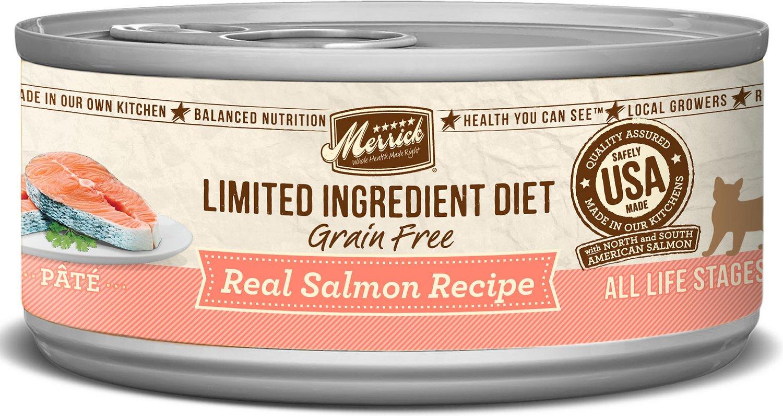 Merrick Limited Ingredient Diet Grain-Free Real Salmon Pate Recipe Canned Cat Food, 5-oz
