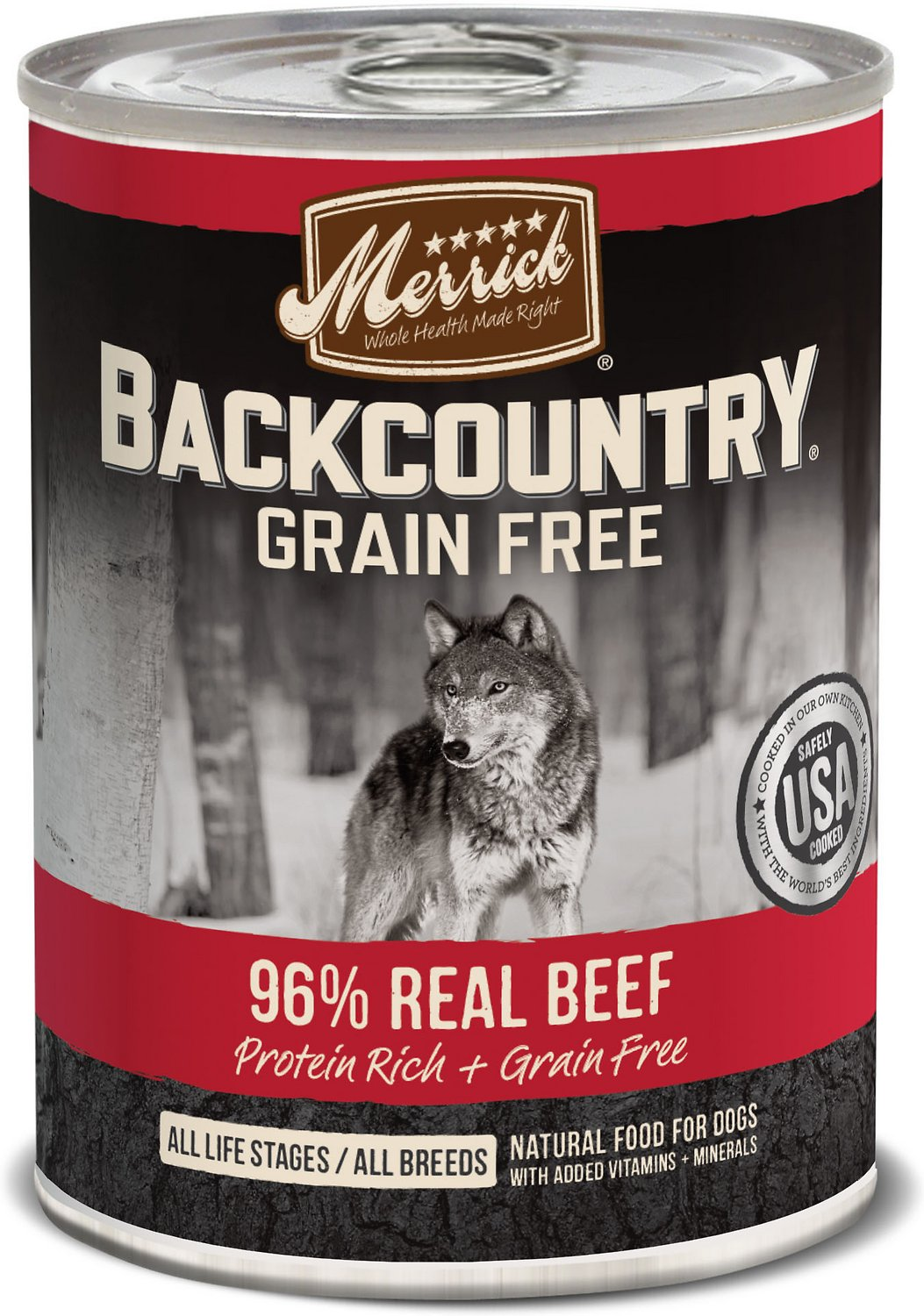 Merrick Backcountry Grain-Free 96% Real Beef Recipe Canned Dog Food Image