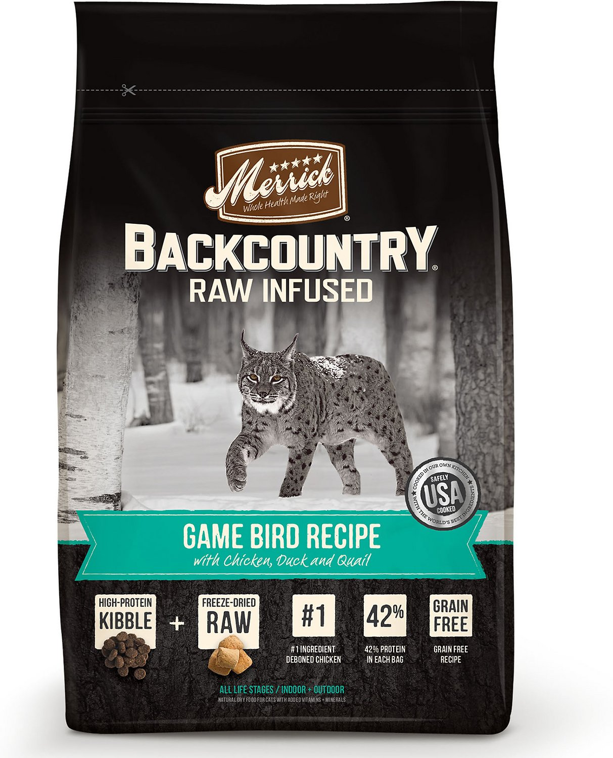 Merrick Backcountry Raw Infused Game Bird Recipe with Chicken, Duck & Quail Grain-Free Dry Cat Food Image