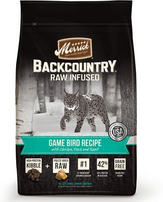 Merrick Backcountry Raw Infused Game Bird Recipe with Chicken, Duck & Quail Grain-Free Dry Cat Food, 3-lb bag