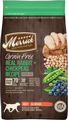 Merrick Grain-Free Real Rabbit + Chickpeas Recipe Dry Dog Food, 4-lb bag