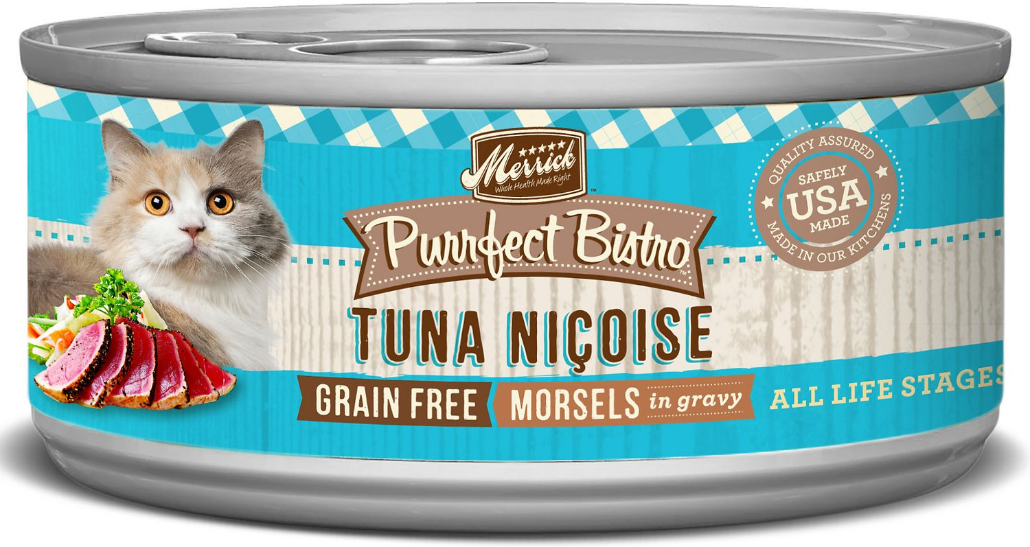 Merrick Purrfect Bistro Grain-Free Tuna Nicoise Morsels in Gravy Canned Cat Food, 5.5-oz