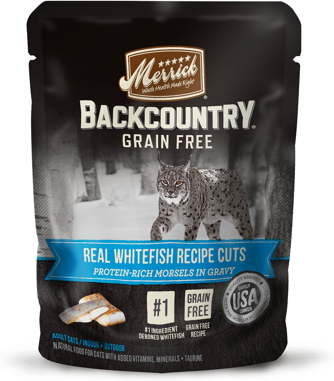 Merrick Backcountry Grain-Free Morsels in Gravy Real Whitefish Recipe Cuts Cat Food Pouches, 3-oz