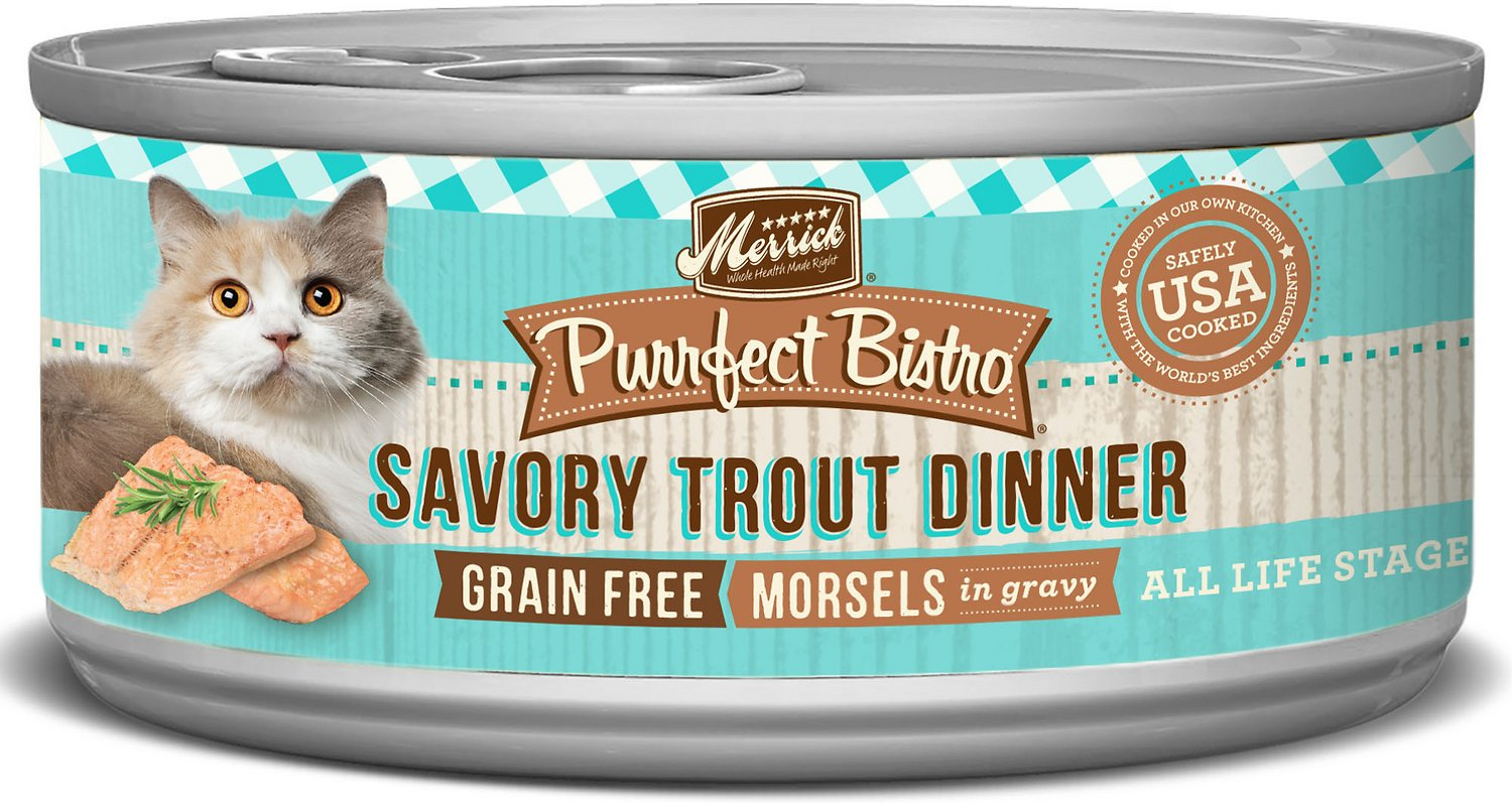 Merrick Purrfect Bistro Grain-Free Morsels in Gravy Savory Trout Dinner Canned Cat Food, 5.5-oz