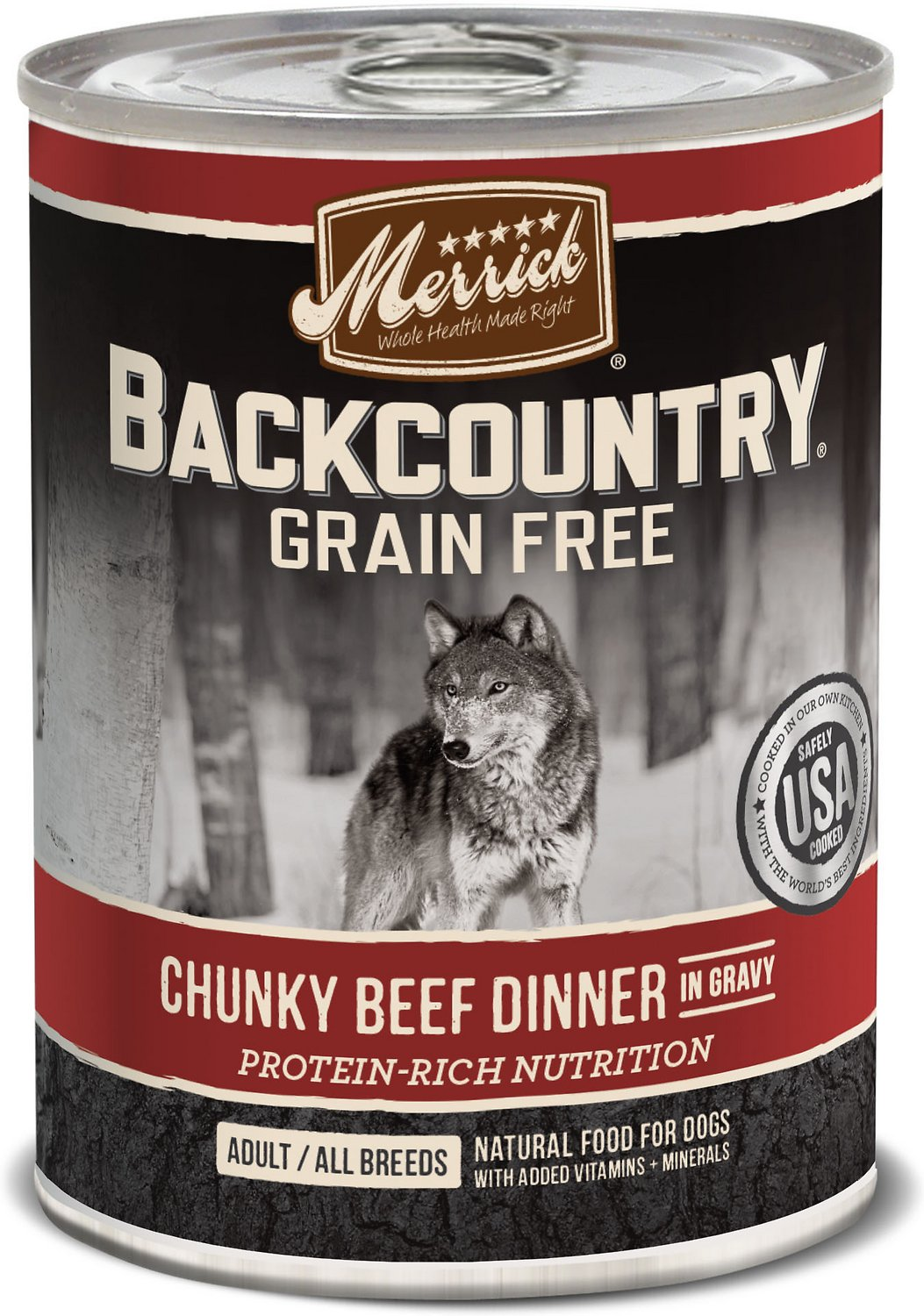 Merrick Backcountry Grain-Free Chunky Beef Dinner in Gravy Canned Dog Food, 12.7-oz