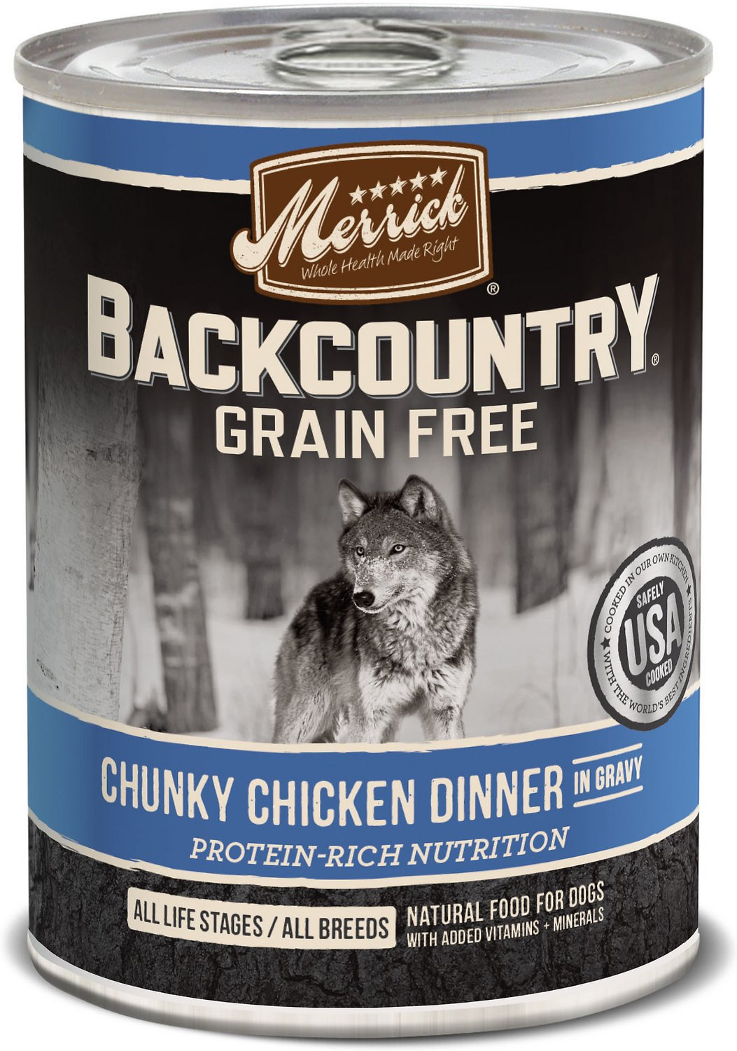 Merrick Backcountry Grain-Free Chunky Chicken Dinner in Gravy Canned Dog Food, 12.7-oz