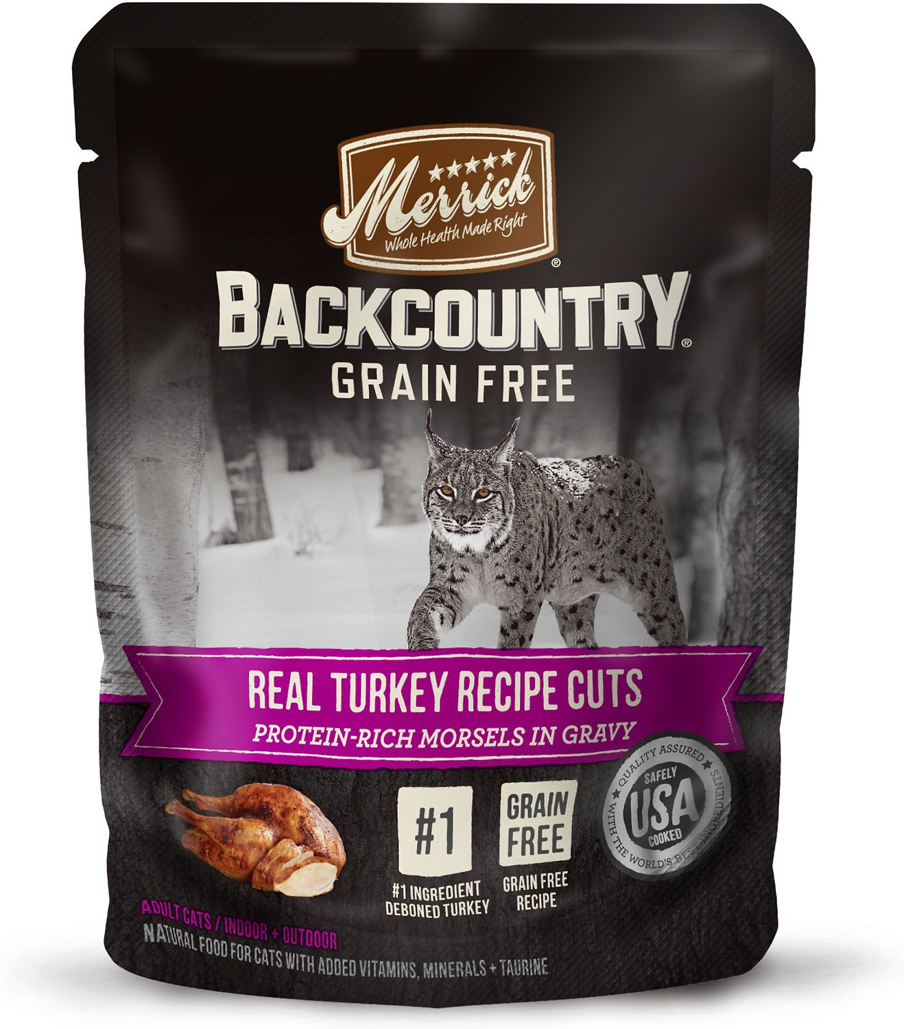Merrick Backcountry Grain-Free Morsels in Gravy Real Turkey Recipe Cuts Cat Food Pouches Image