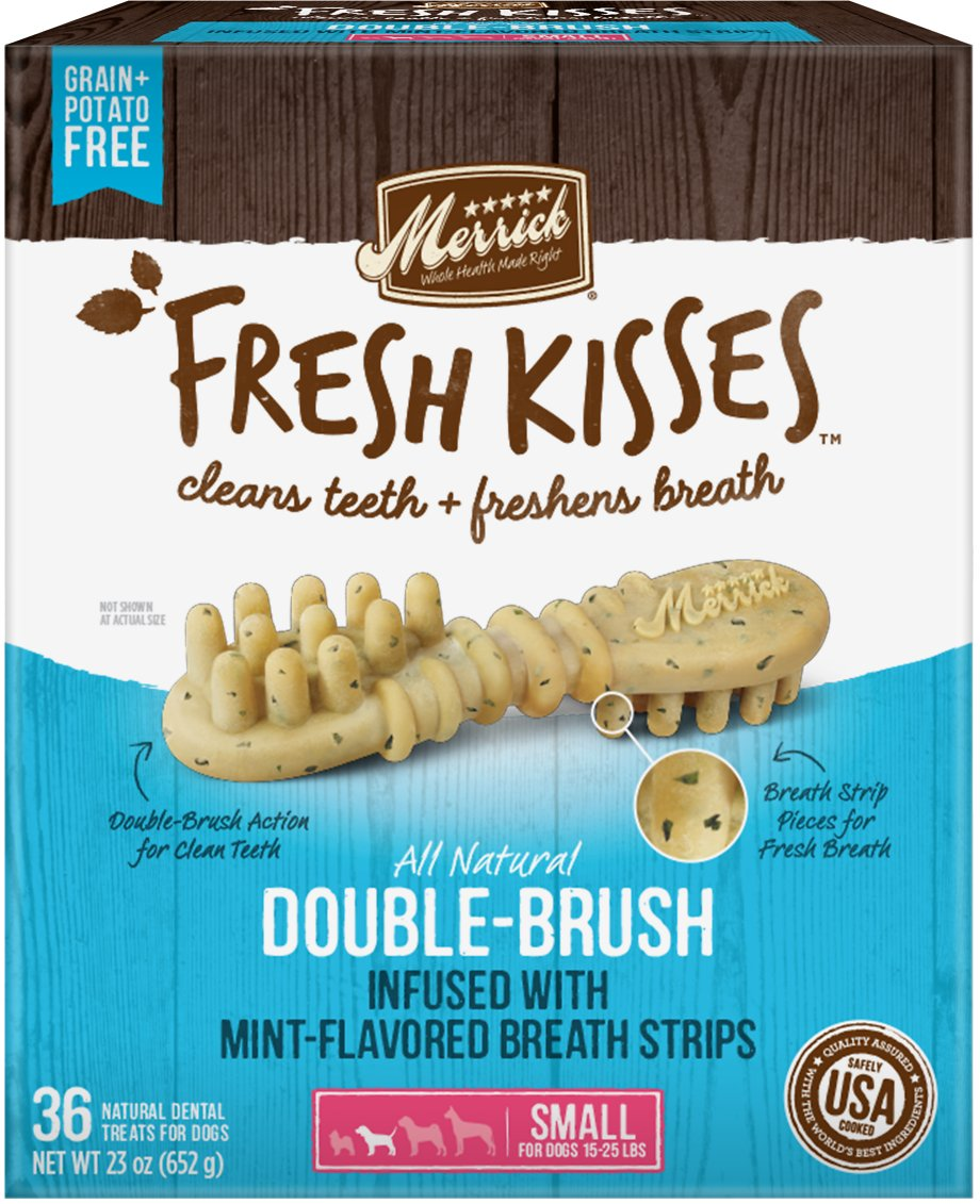 Merrick Fresh Kisses Double-Brush Mint Breath Strips Small Grain-Free Dental Dog Treats Image