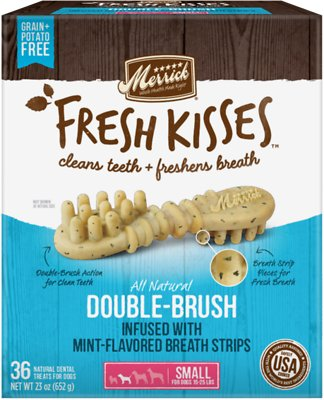 Merrick Fresh Kisses Double-Brush Mint Breath Strips Small Grain-Free Dental Dog Treats, 36-count