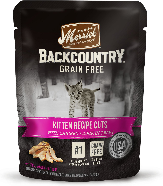 Merrick Backcountry Grain-Free Kitten Recipe Cuts Chicken & Duck in Gravy Cat Food Pouches, 3-oz, case of 24