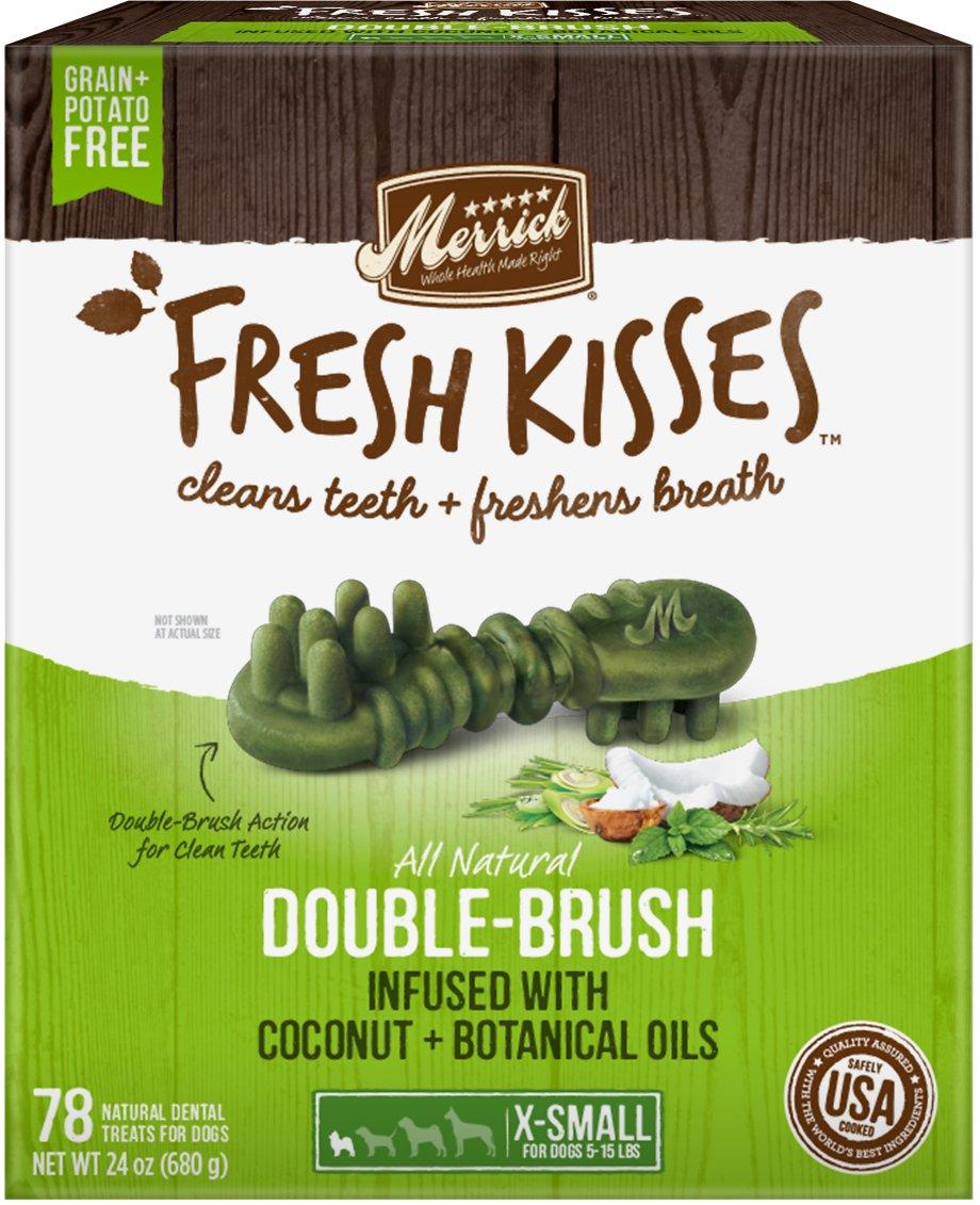 Merrick Fresh Kisses Double-Brush Coconut Oil & Botanicals Extra Small Grain-Free Dental Dog Treats, 1-count