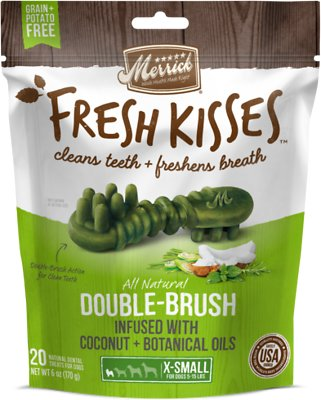 Merrick Fresh Kisses Double-Brush Coconut Oil & Botanicals Extra Small Grain-Free Dental Dog Treats, 20 count