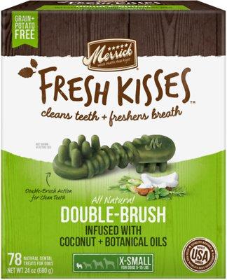 Merrick Fresh Kisses Double-Brush Coconut Oil & Botanicals Extra Small Grain-Free Dental Dog Treats, 78 count