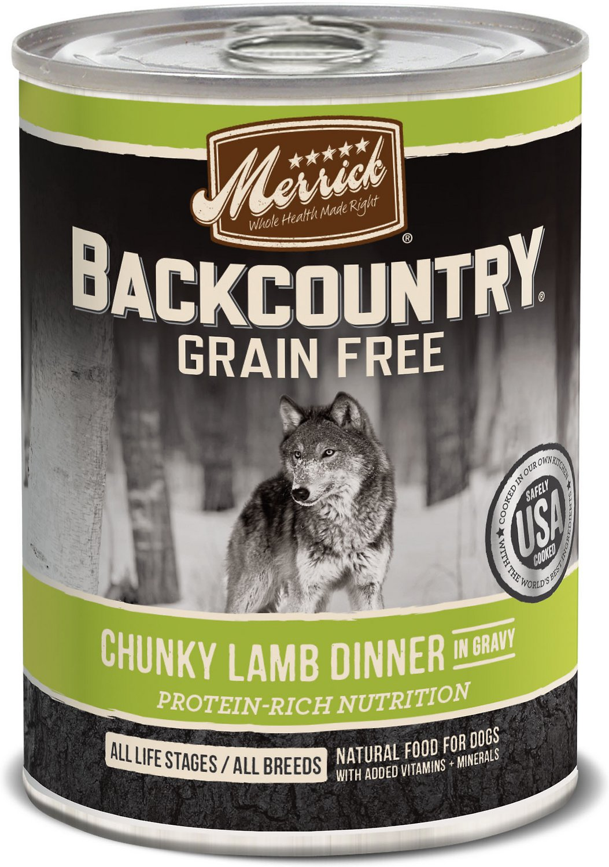 Merrick Backcountry Grain-Free Chunky Lamb Dinner in Gravy Canned Dog Food, 12.7-oz