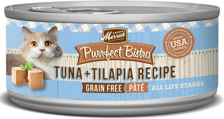 Merrick Purrfect Bistro Grain-Free Tuna & Tilapia Pate Canned Cat Food, 5.5-oz