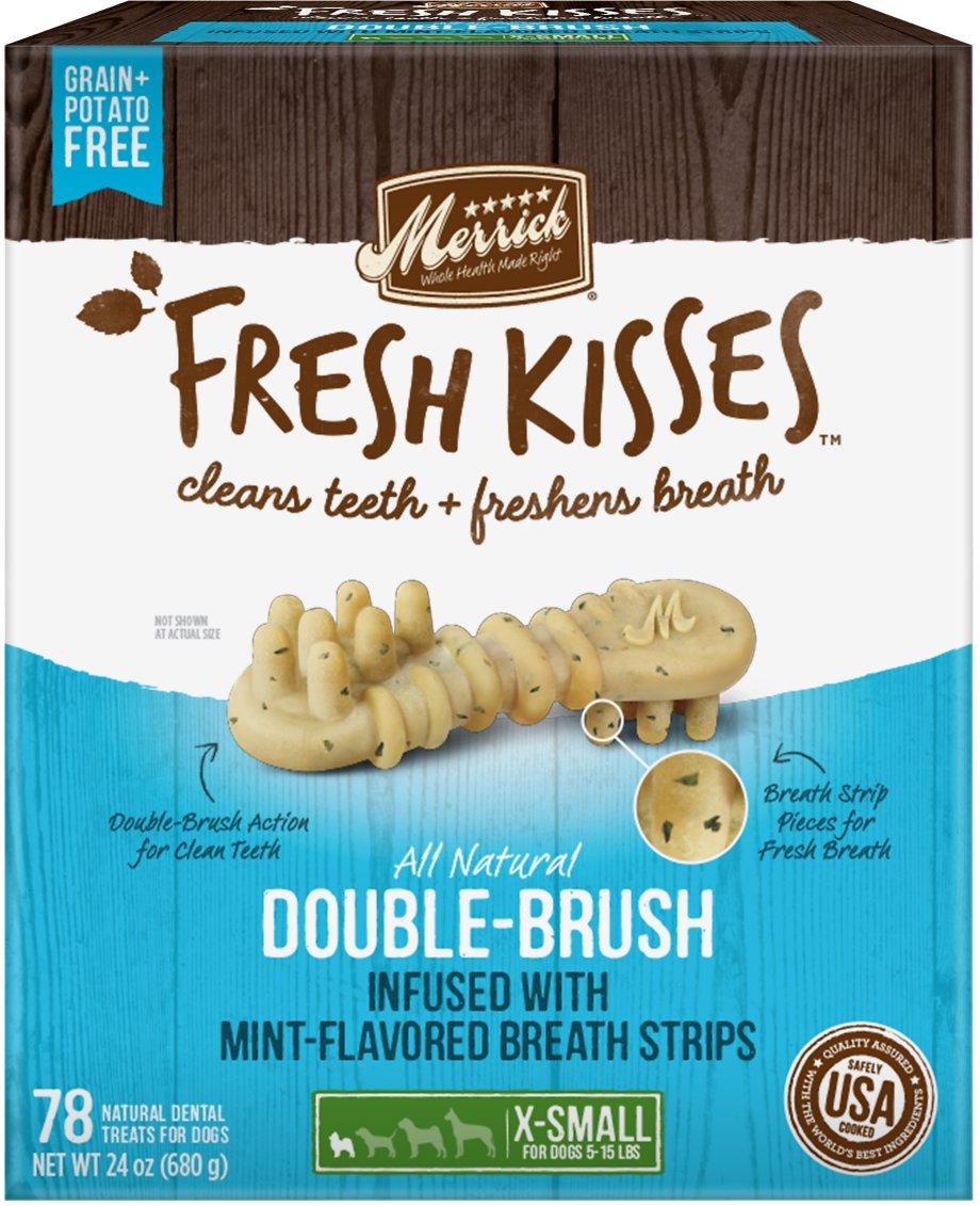 Merrick Fresh Kisses Double-Brush Mint Breath Strips Extra Small Grain-Free Dental Dog Treats, 1-count