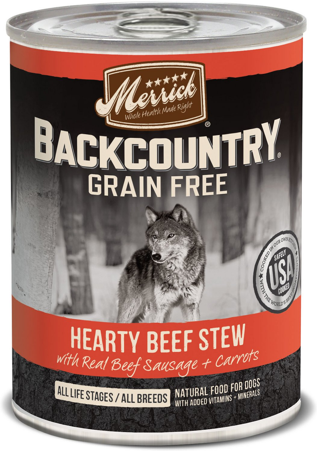 Merrick Backcountry Grain-Free Hearty Beef Stew Canned Dog Food, 12.7-oz