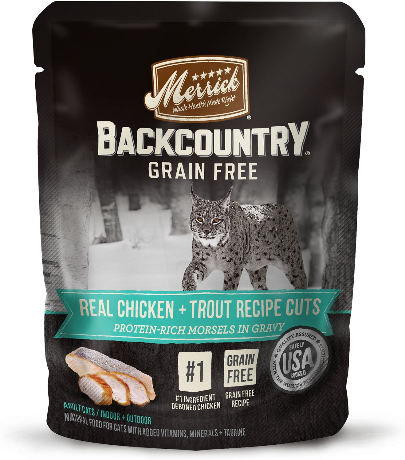 Merrick Backcountry Grain-Free Real Chicken & Trout Recipe Cuts Morsels in Gravy Cat Food Pouches, 3-oz, case of 24