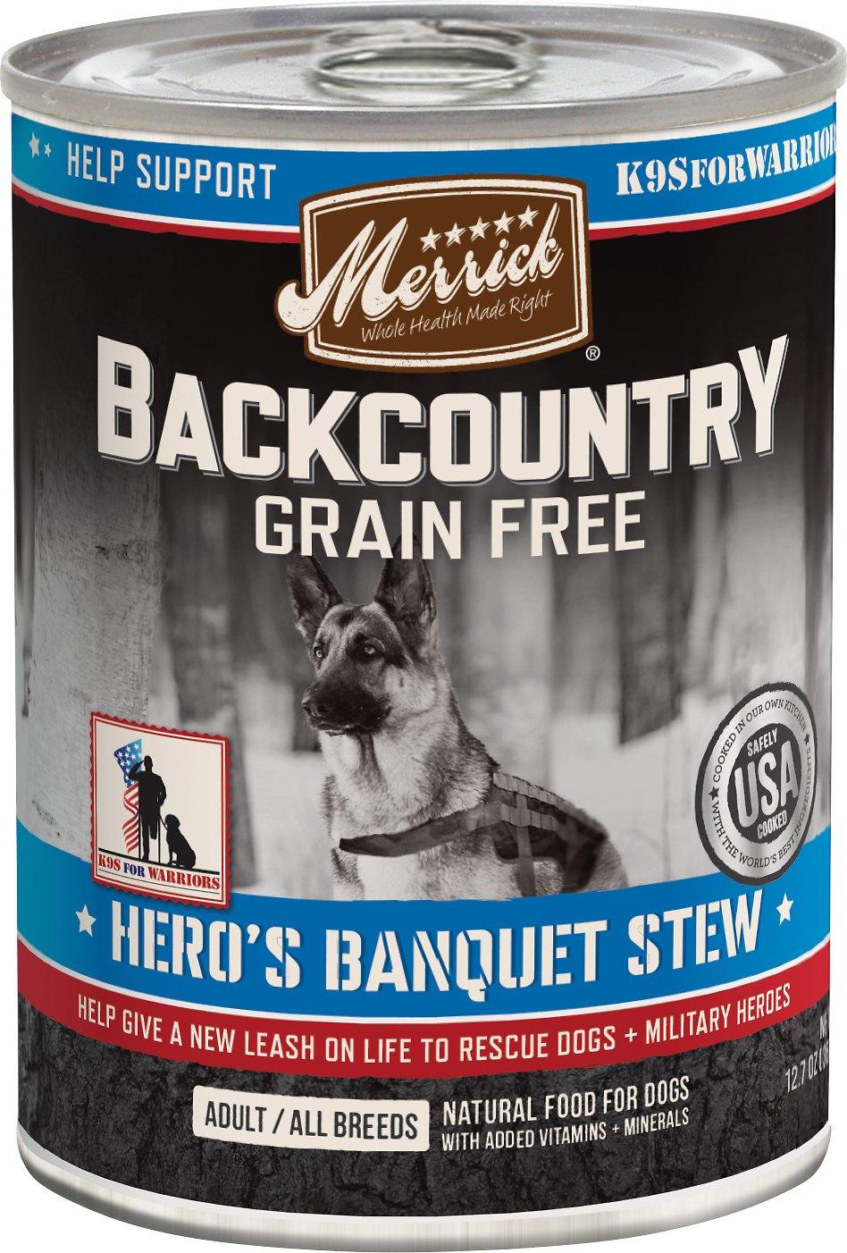 Merrick Backcountry Hero's Banquet Stew Grain-Free Canned Dog Food, 12.7-oz