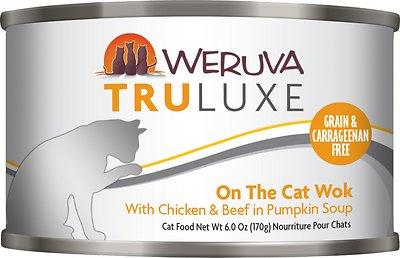 Weruva Cat Truluxe On The Cat Wok with Chicken & Beef in Pumpkin Soup Grain-Free Wet Cat Food, 6-oz, case of 24