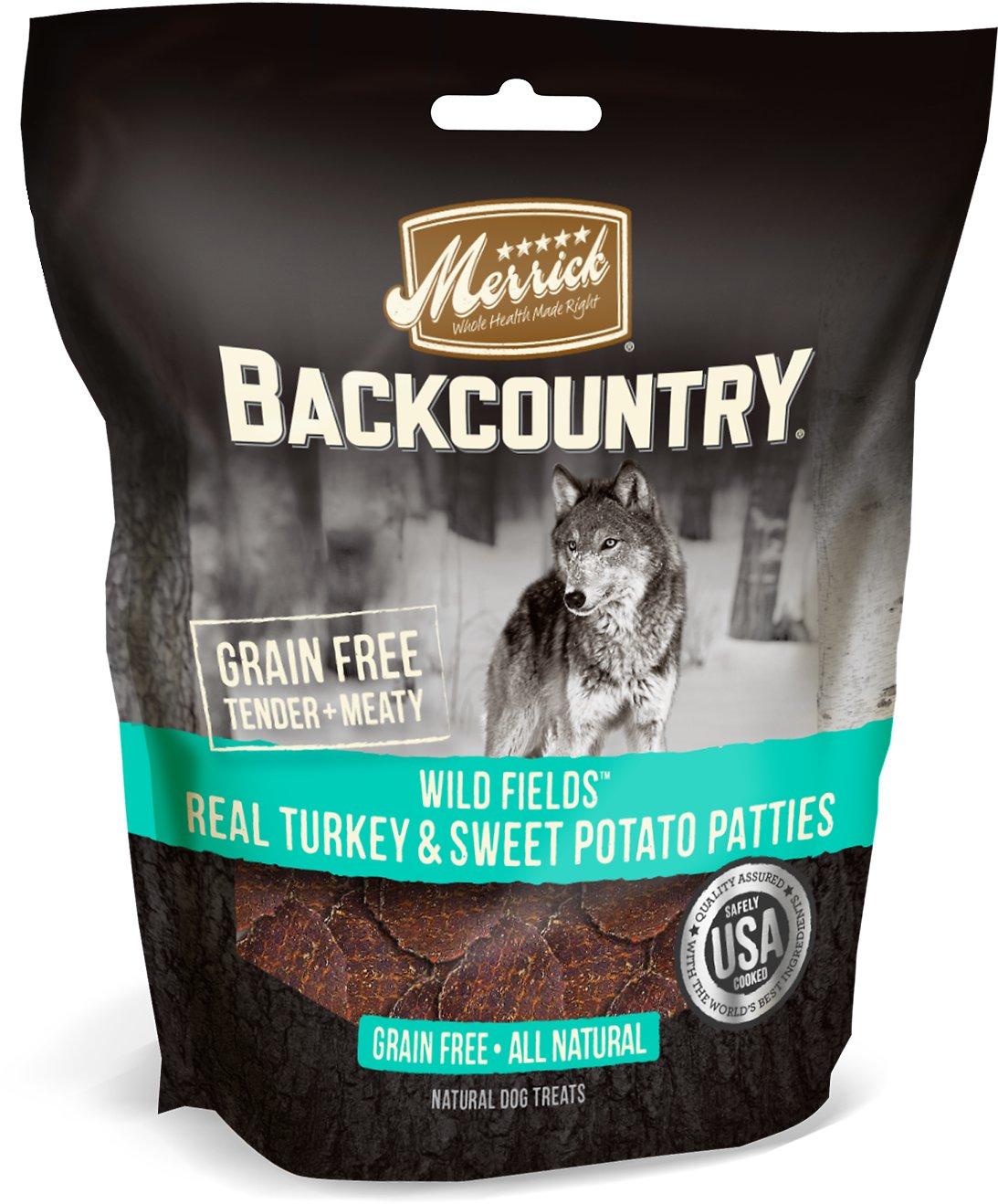 Merrick Backcountry Wild Fields Real Turkey & Sweet Potato Patties Dog Treats, 4-oz bag