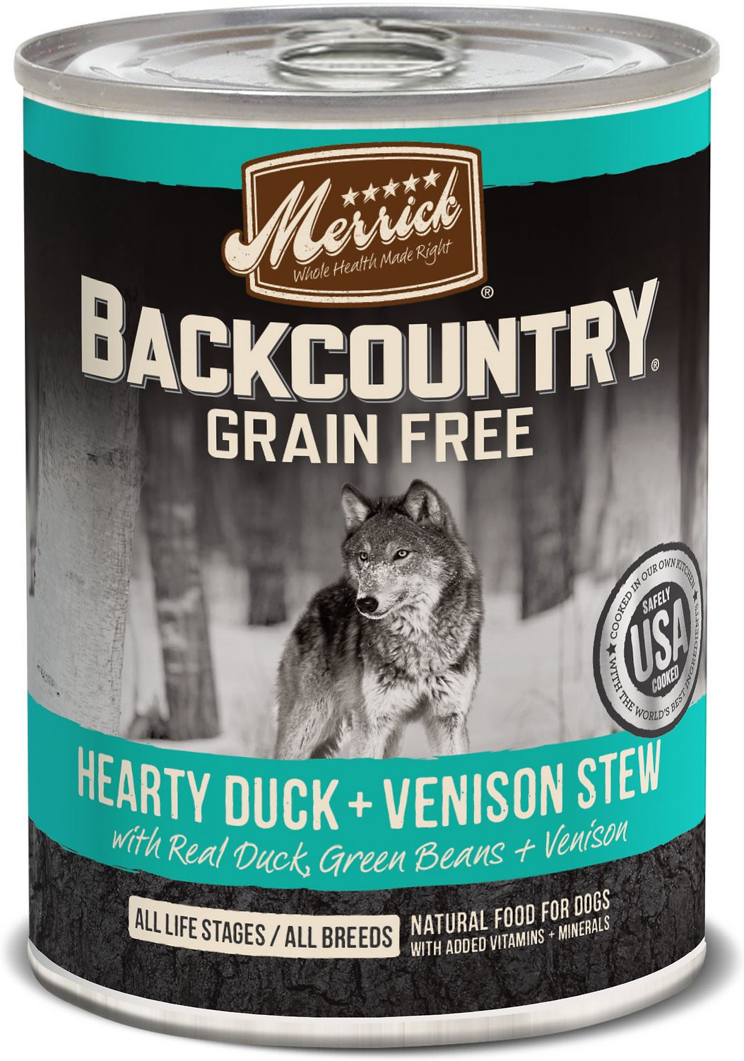 Merrick Backcountry Grain-Free Hearty Duck & Venison Stew Canned Dog Food, 12.7-oz
