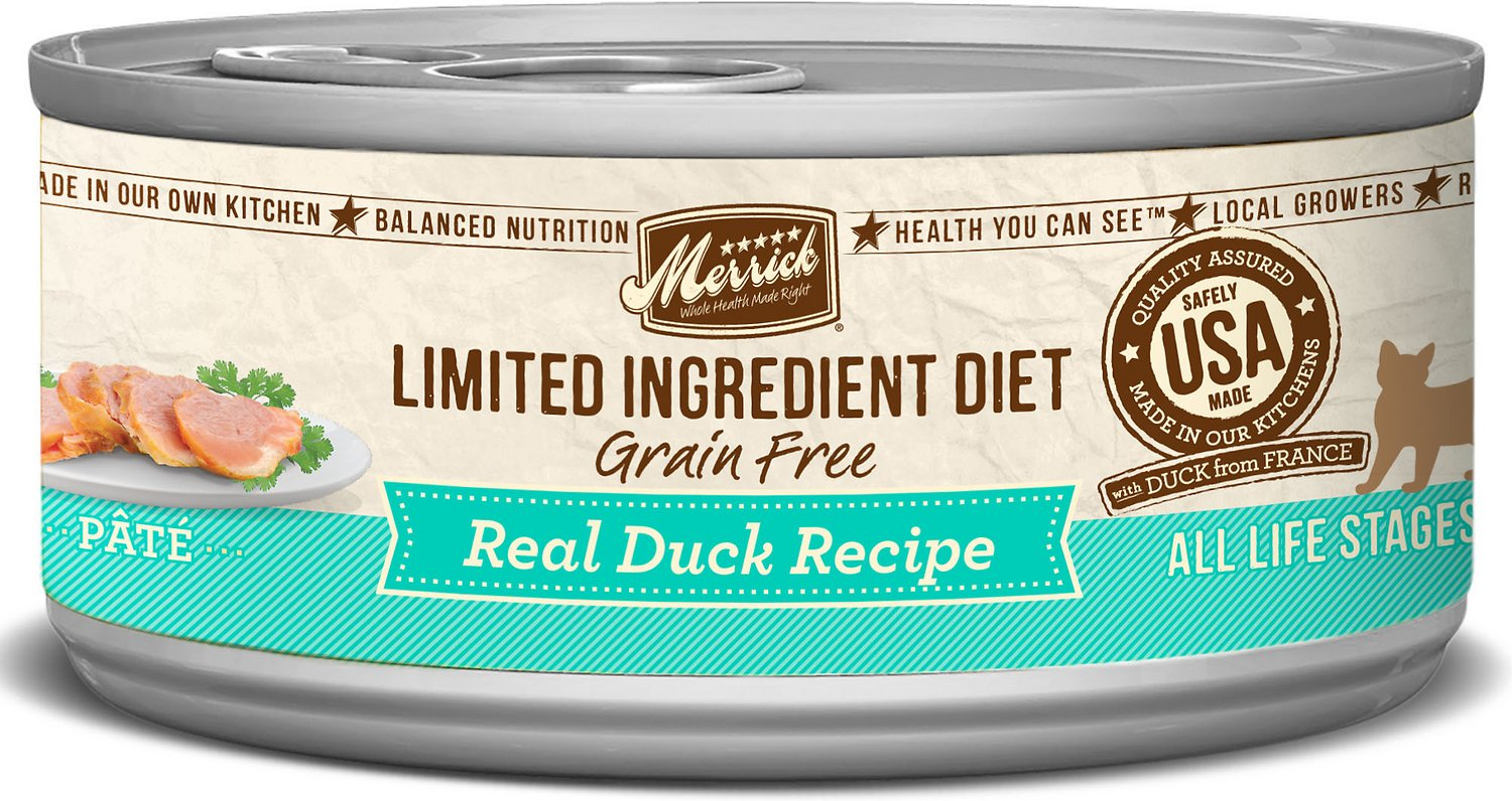 Merrick Limited Ingredient Diet Grain-Free Real Duck Pate Recipe Canned Cat Food, 5-oz