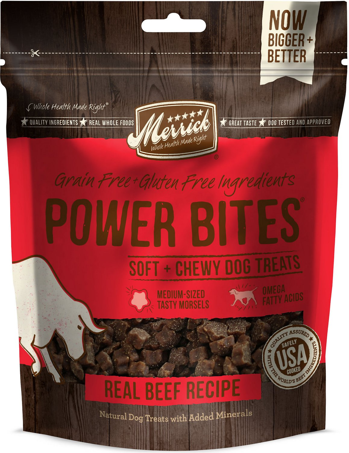 Merrick Power Bites Real Texas Beef Recipe Grain-Free Soft & Chewy Dog Treats, 6-oz bag Image