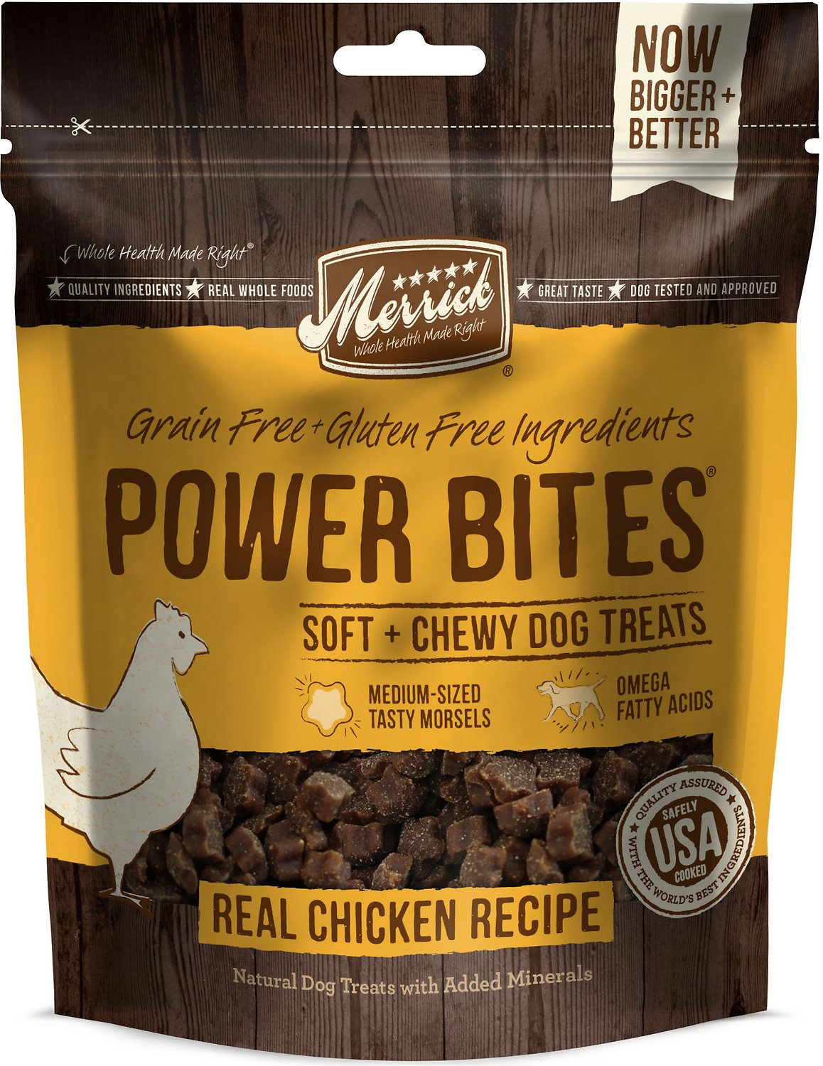 Merrick Power Bites Real Chicken Recipe Grain-Free Soft & Chewy Dog Treats, 6-oz bag