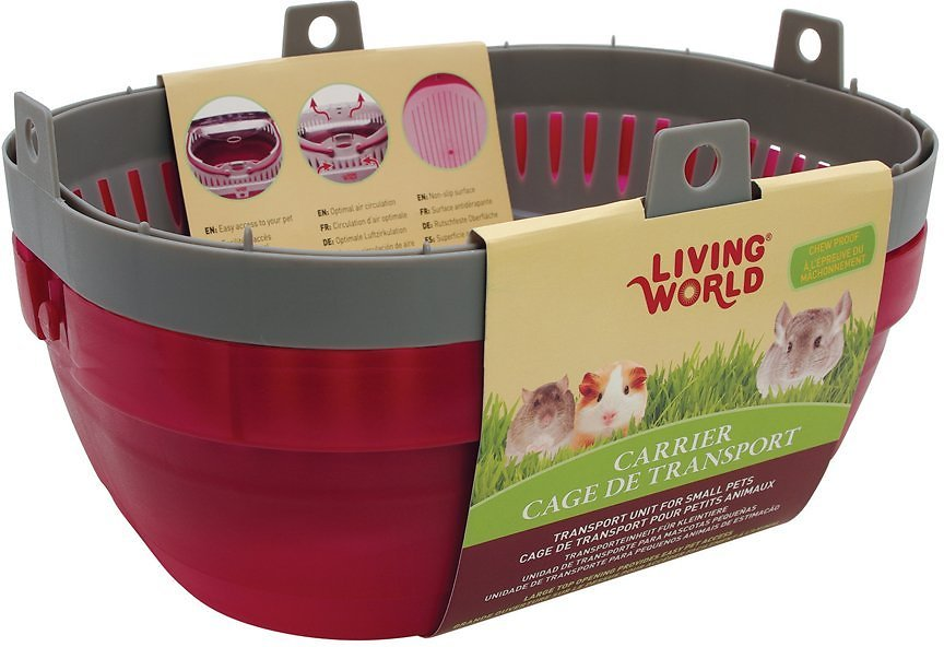 Living World Small Animal Carrier, Red & Grey, Large Image