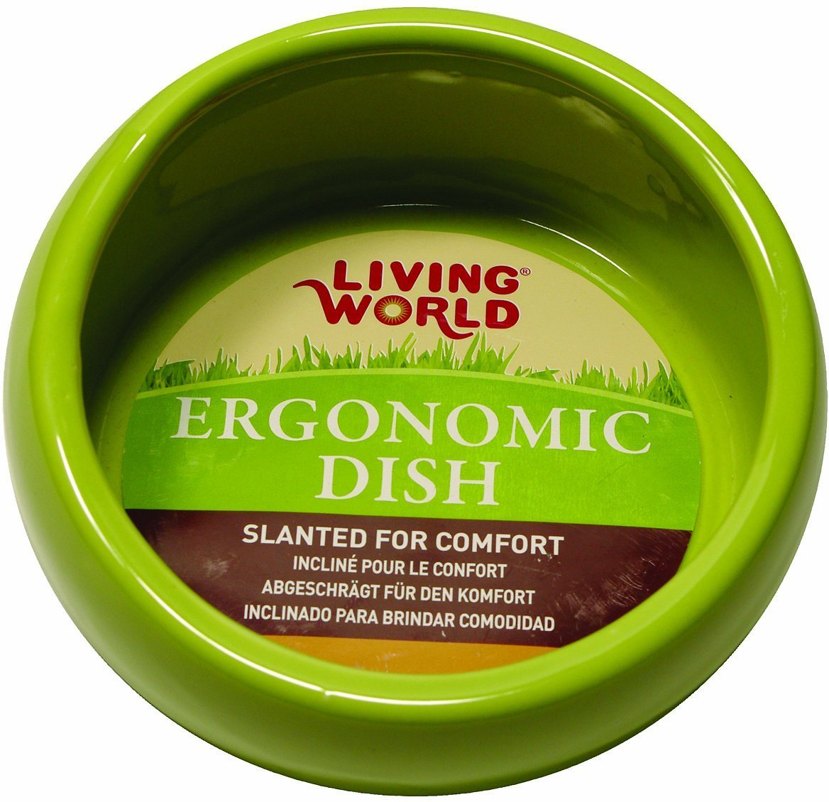 Living World Green Ergonomic Small Pet Dish, Small