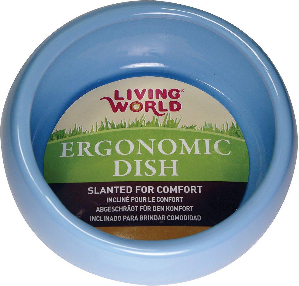 Living World Blue Ergonomic Small Pet Dish, Small