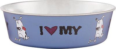 Loving Pets Bella Bowls Pet Bowl, Steele Blue, Medium