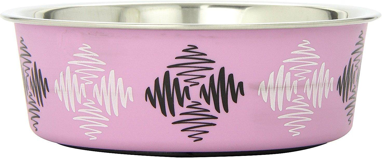 Loving Pets Bella Bowls Pet Bowl, Argyle Pink Image
