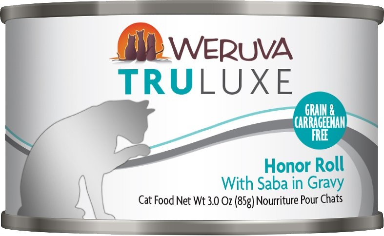 Weruva Cat Truluxe Honor Roll with Saba in Gravy Grain-Free Wet Cat Food, 3-oz